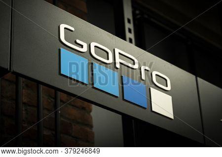 Krasnoyarsk, Russia, July 20, 2020: Gopro Logo On A Commercial Sign, Billboard Dark Background