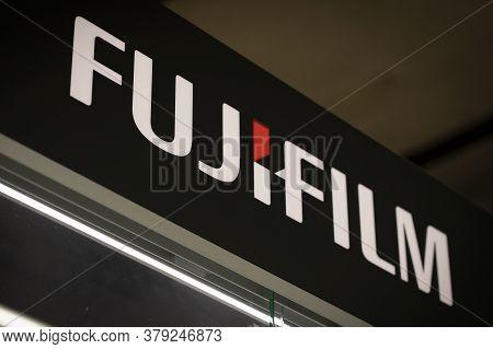 Krasnoyarsk, Russia, July 20, 2020: Fujifilm Logo Black Sign