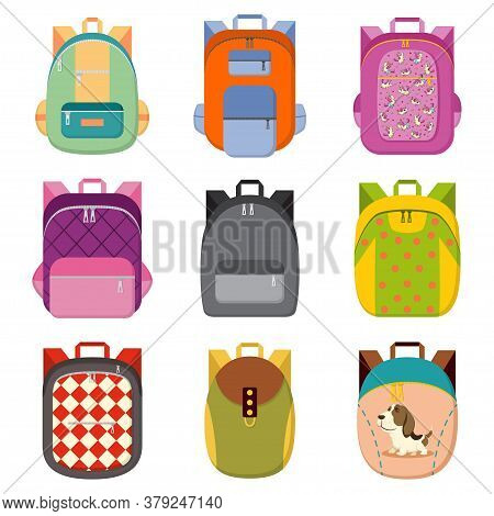 School, College Or Tourist Backpack Set. Book Bag With Different Colors And Patterns Of Unicorns, Do