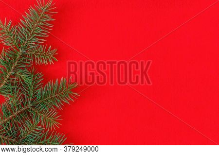 Christmas Fir Tree Branches On A Red Background Fir Branches Border On Red Background, Good For Chri
