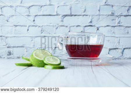 Lemon Tea On Wooden Background With Copy Space