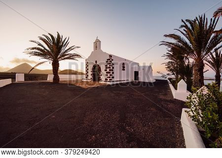 July 29, 2020. July 29, 2020. Lanzarote, Spain. The Old Church At Sunset In La Vegueta