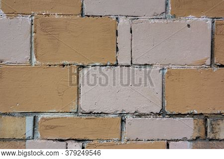 Abstract Multicolour Brick Wall Texture For The Background. Textured Background Illustration. Roughl