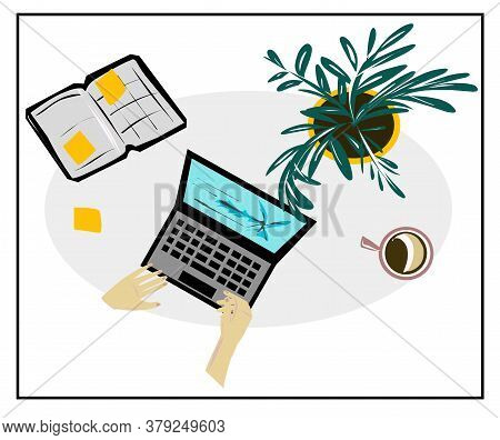 Vector Image Of A Laptop, Mugs With Coffee, Cocoa, A Flower In A Pot, Notebooks, Pens, Stickers. Iso