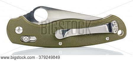 Side View Of Closed Folding Pocket Knife With Textured Dark Green Composite Plastic Cover Plates On