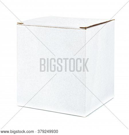 Closed White Cubic Shape Carton Box Isolated On White Background
