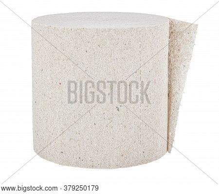 Roll Of Cheap Grey Toilet Paper Close-up Isolated On White Background
