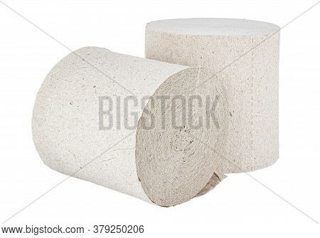 Two Rolls Of Cheap Grey Toilet Paper Isolated On White Background