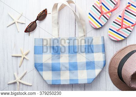 Flat Composition Of Summer Beach Accessories On Table.