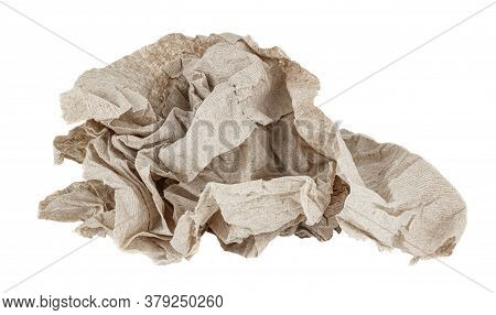 Crumpled Cheap Grey Toilet Paper Isolated On White Background