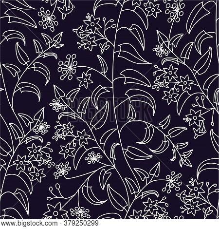 Nightshade. Floral Decorative Pattern. Seamless Pattern Of Light Outline On Dark Background