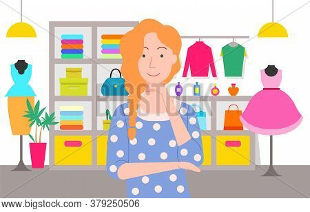Shopping Female Character Vector, Girl Choosing Clothes In Store Flat Style. Mall With Mannequin And