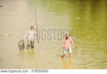 Teach Man To Fish And You Feed Him For Lifetime. Male Friendship. Father And Son Fishing. Summer Wee