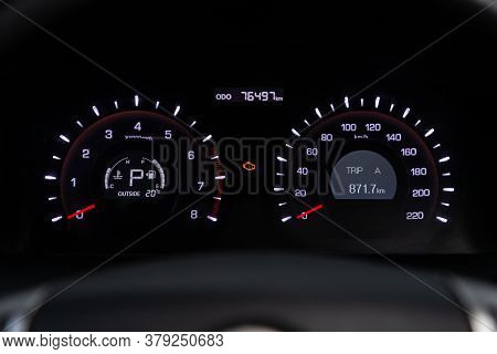 Novosibirsk/ Russia - July 26 2020: Ssangyong  Action, Round Speedometer, Odometer With A Range Of 2