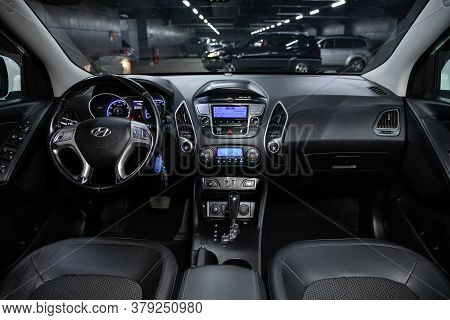 Novosibirsk/ Russia - July 18 2020: Hyundai  Ix-35, Close-up Of The Dashboard, Player, Steering Whee
