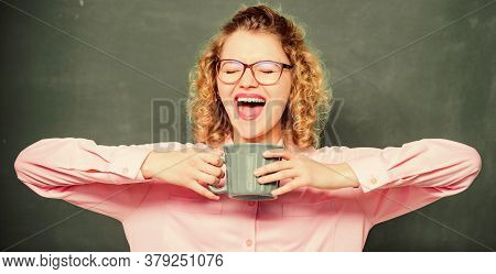 Coffee Addicted. Energy Charge For Whole Day. Dose Of Caffeine. Teacher In Glasses Drink Coffee Chal