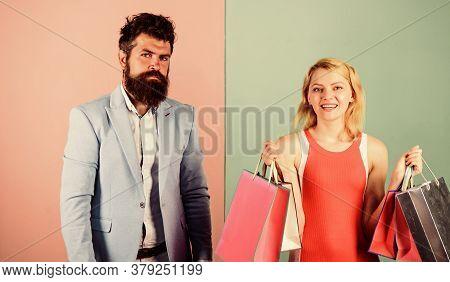 Family Budget. Man Girl With Paper Bags. Addicted Shopaholic. Shopaholic Problem. Consumerism Addict