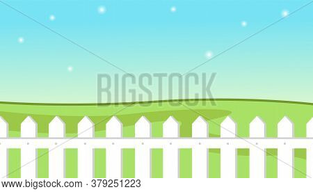 Blue Sky Background With Decorative Picket White Fence And Grass. Garden Fencing, Summer Backyard. S