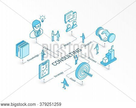Consulting Isometric Concept. Connected Line 3d Icons. Integrated Infographic Design System. Busines