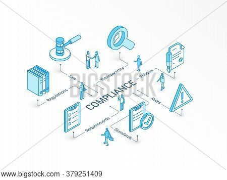 Compliance Isometric Concept. Connected Line 3d Icons. Integrated Infographic Design System. Rules,
