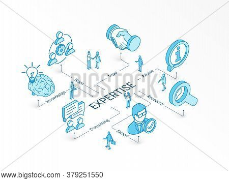 Expertise Isometric Concept. Connected Line 3d Icons. Integrated Infographic Design System. Expert S