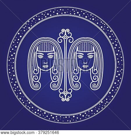 Gemini Astrology Zodiac Horoscope In Shiny Round Shape Isolated On Blue Color. Twins Girls Character