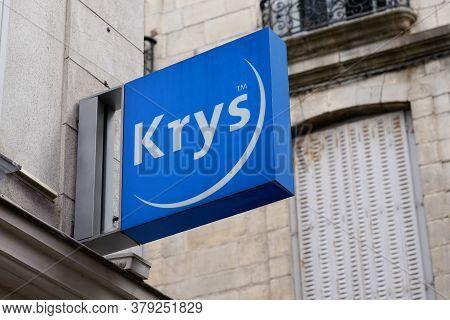 Bordeaux , Aquitaine / France - 07 28 2020 : Krys Optic Logo And Blue Text Sign On Optician Shop Gla