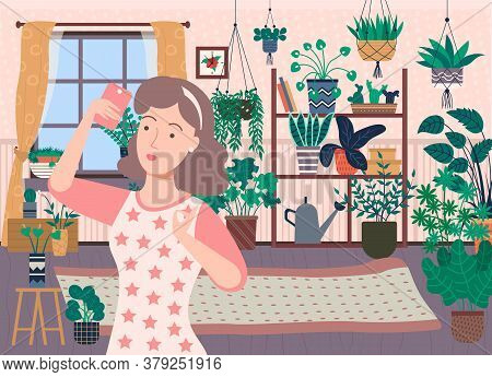 Pretty Brunette Woman Taking Selfie On Phone At Home. Many Plants, Flowers And Cactuses On Backgroun