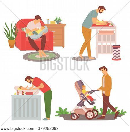 Father And Kid Walking Outdoors Vector, Daddy Feeding Newborn Kid With Bottle, Parent Changing Diape