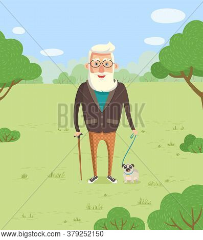 Grandfather Vector, Old Man Walking Dog On Leash. Senior Character Hipster Grandpa Wearing Sweater A
