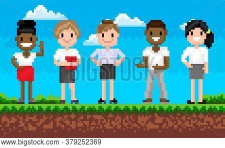 Group Of Man And Woman Characters Standing On Grass, Portrait View Of Smiling Superheroes, Pixel Gam