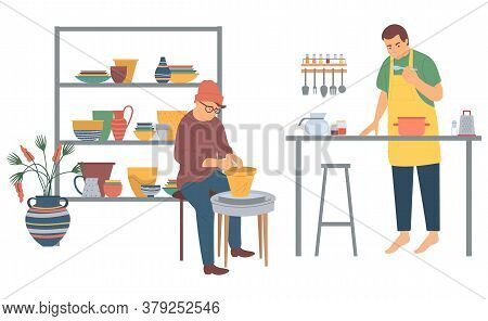 Man Cooking Vector, People On Leisure Time, Pastime Of Characters. Interests Of Males, Chef In Kitch