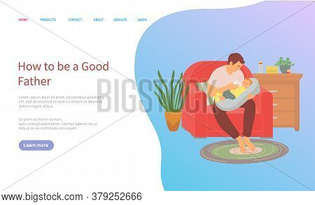 Father Feeding Baby From Milk Bottle, Room Interior Design. Vector Dad Sitting On Red Armchair, Ches
