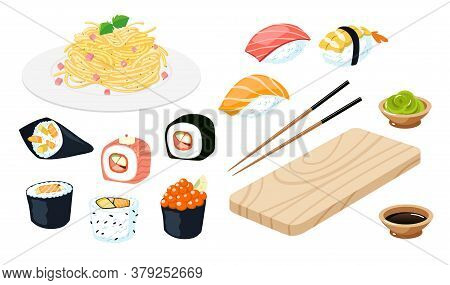 Set Sushi. Wasabi, Soy Sauce, Noodle, Chopsticks, Nigiri, Rolls And Wood Serving Board. Isolated On