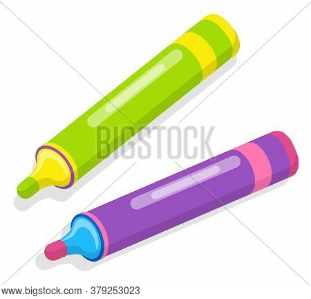 Purple And Green Felt-tip Pen Icon Isolated On White. Colorful Stationery, Office Supplies For Writi