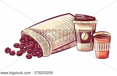 Coffee In Disposable Cup With Lid, Beans In Sack. Sketch Of Caffeine Beverage And Grains In Bag, Moc