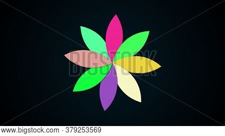 Computer Generated Modern Background From Multicolored Flower With Petals. Colorful Pattern. 3d Rend