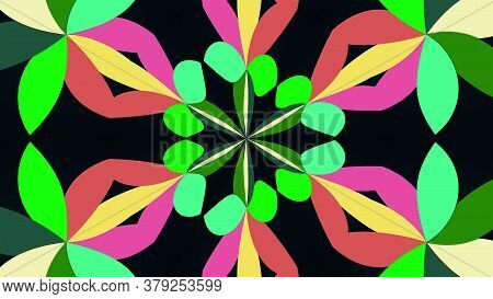Kaleidoscope Converts Colors Into A Flower Image, 3d Rendering. Merging Color Spots Into A Single Or
