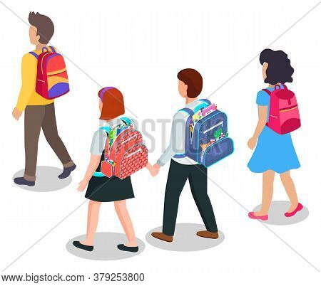 Education, Children Going To School With Backpacks Or Schoolbags Vector. Boys And Girls Carrying Ruc