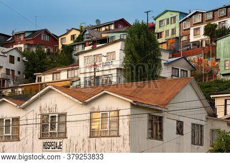 Castro, Chiloe Island, Chilean Lake District, Chile - January 29, 2016: Cityscape Of Traditional Woo