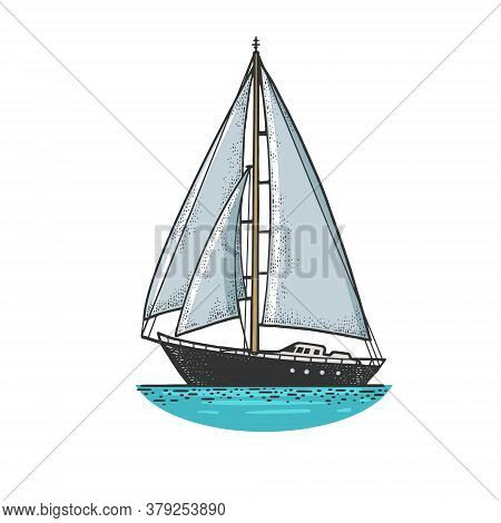 Sailing Yacht Boat Sketch Engraving Vector Illustration. T-shirt Apparel Print Design. Scratch Board