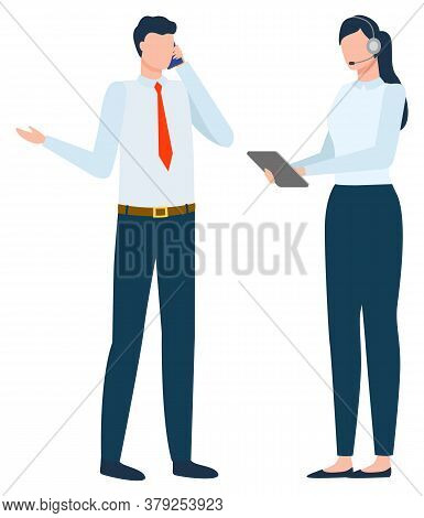 Boss With Secretary Vector, Isolated Businessman Talking On Phone With Business Partners. Woman Help