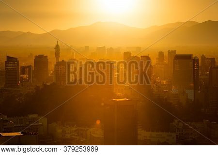 City Skyline Of The Historic Downtown And Civic Center At Santiago De Chile.