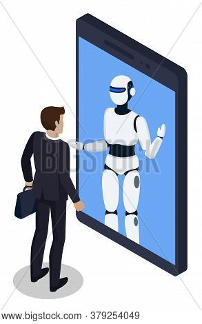 Businessman Talking To Robot In Smartphone Chat. Isolated Character Having Consultation At Robot. Ch