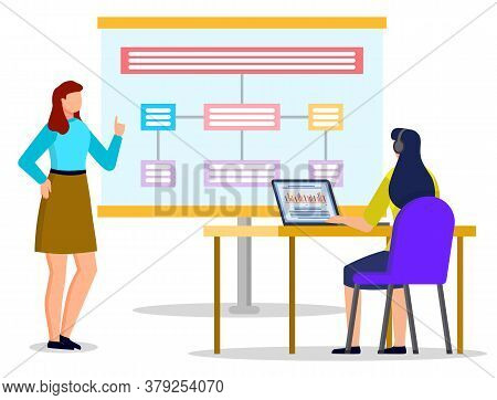 Conversation Between Office Worker And Manager About Work. Two Women Look At Data Diagrams And Schem