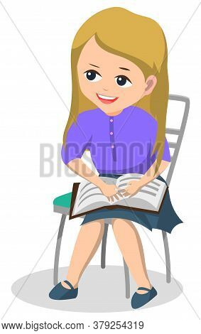 Book Club After Lessons For Pupils. Schoolgirl Sit On Chair And Read Interesting Textbook. Hobby Rea