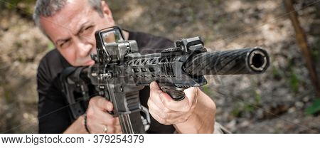 Front View Gun Point Rifle Machine Gun. Shooting And Weapons