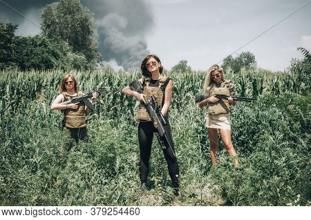 Combat Team Of Attractive Female Military Soldier Have War Training