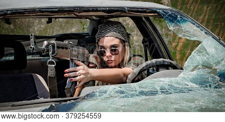Attractive Female Soldier Had Shooter Courses. Shooting From Car Training