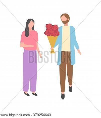 Dating Couple, Man With Bouquet Of Flowers And Woman Isolated Cartoon Character. Vector Married Husb